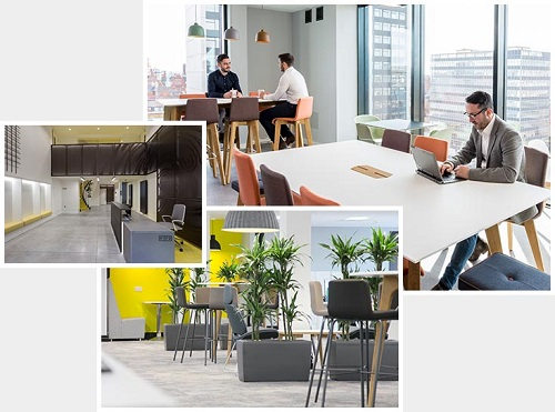 Four different commercial interior designs in one capture as solution based designs from an architecture firm.