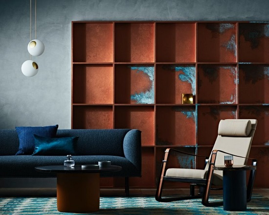 Image Representing Living Room Interior With Copper Effect Paint.