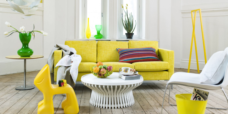 Living Room Interior With Yellow Velvet Sofa.