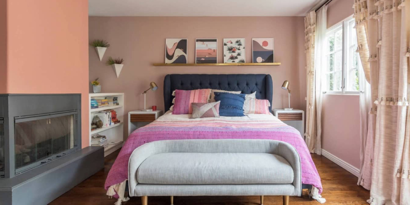 Interior Of Bedroom With Comfortable Bed Near Pink Wall.