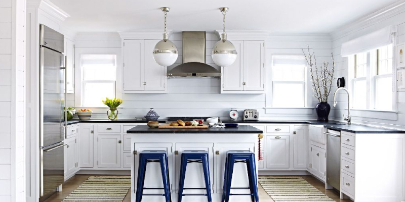 Blue & White Modern Design Kitchen With Lamp.