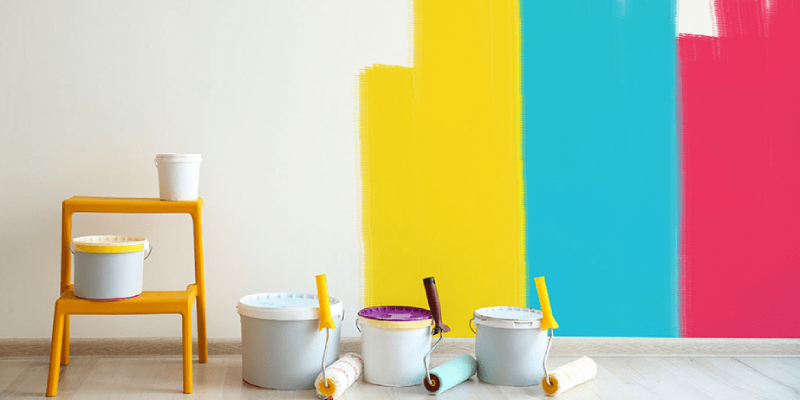Four Different Colors Of Paint Painted On The Wall.